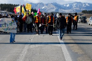 Protestors from Morley, Alberta, block the TransCanada Highway.