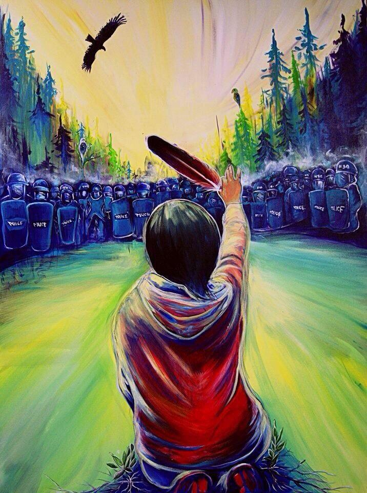 A beautiful reworking of an iconic image from Elsipogtog, by Mi'kmaq artist Jayce Augustine.